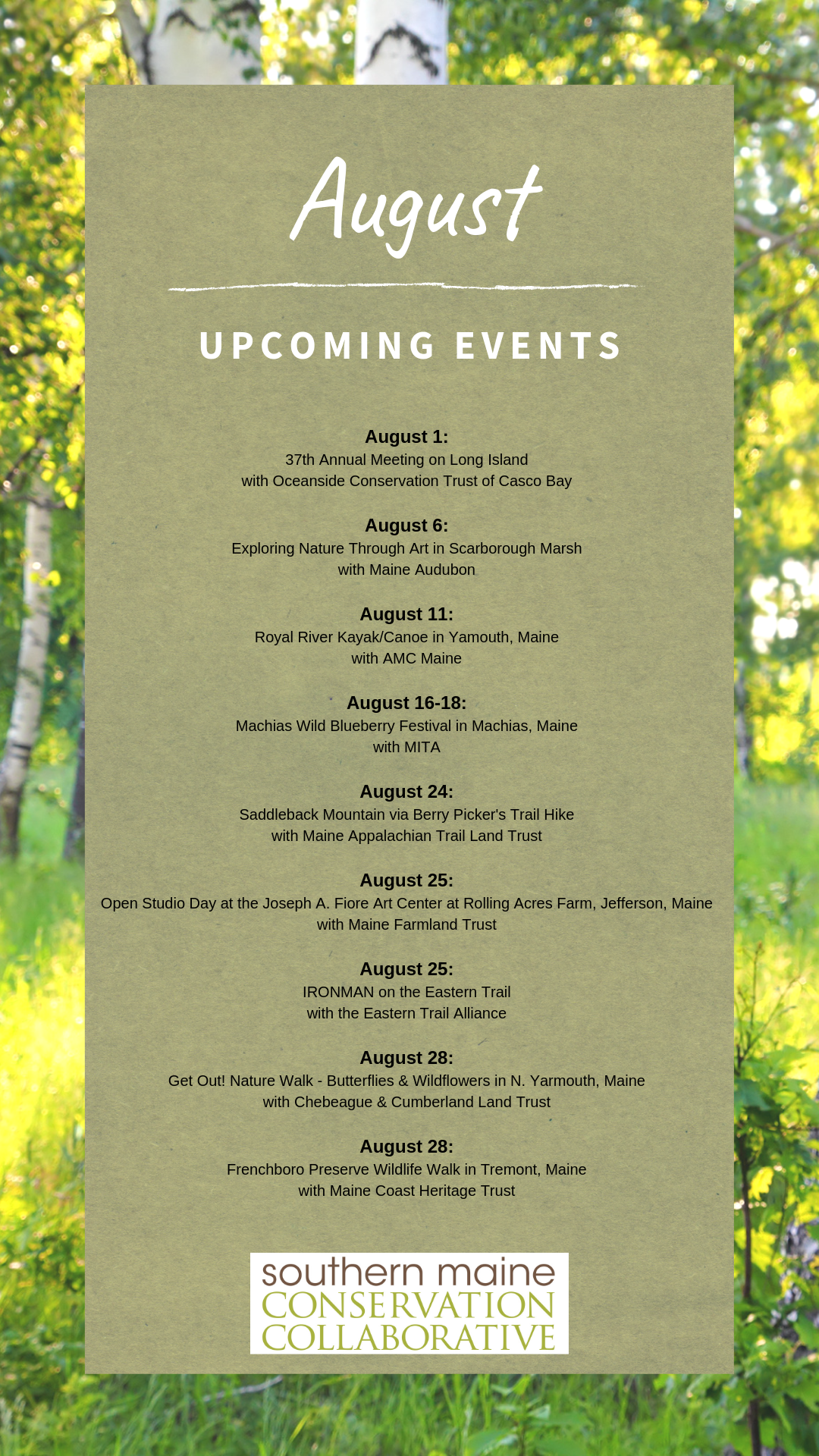 SMCC's Member Organizations Events – Southern Maine Conservation